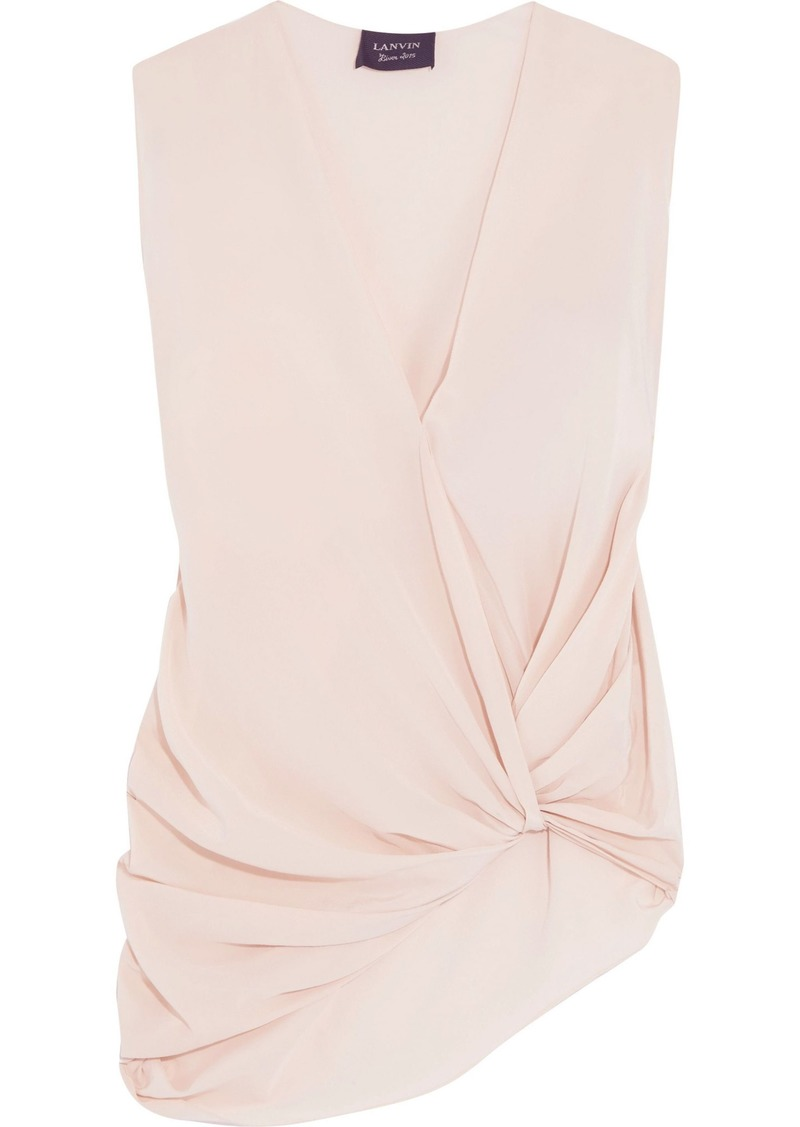 Lanvin Woman Knotted Draped Silk-crepe Top Pastel Pink