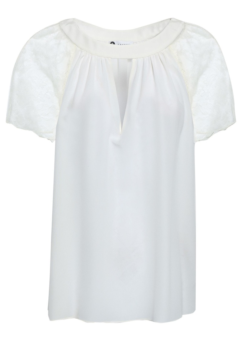 Lanvin Woman Lace-paneled Cutout Silk Crepe De Chine Top Ivory