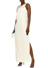 Lanvin Woman Lace-paneled Floral-appliquéd Draped Silk-crepe Gown Cream