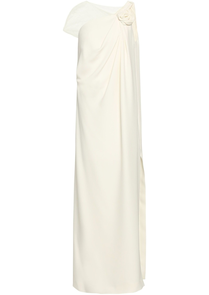 Lanvin Woman Lace-paneled Floral-appliquéd Draped Silk-crepe Gown Cream