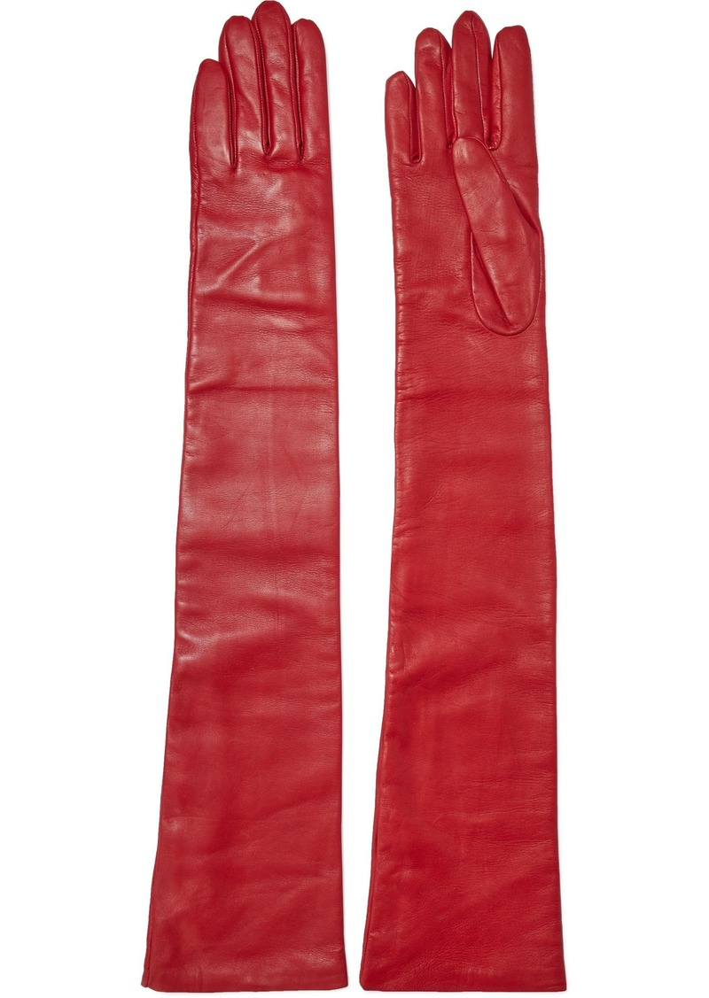 Lanvin Woman Leather Gloves Crimson