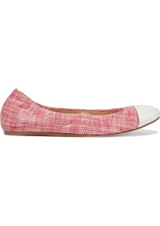 Lanvin Woman Leather-trimmed Cotton-blend Tweed Ballet Flats Tomato Red