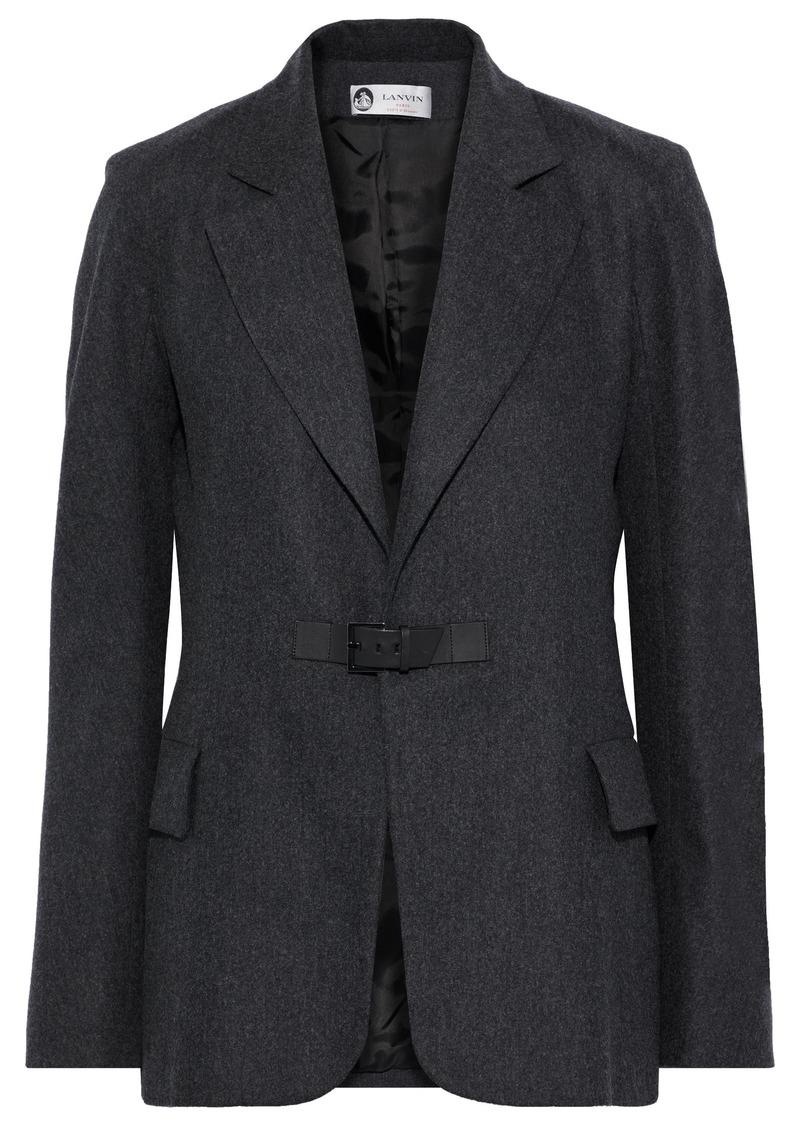 Lanvin Woman Leather-trimmed Wool-blend Felt Blazer Dark Gray