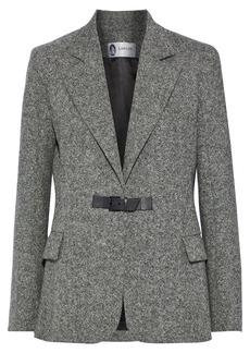 Lanvin Woman Leather-trimmed Wool-tweed Blazer Gray