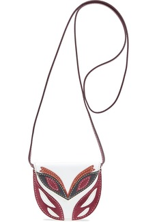 Lanvin Woman Mask Small Suede-trimmed Leather Shoulder Bag White