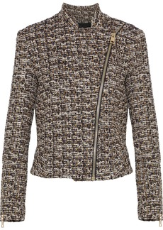 Lanvin Woman Metallic Tweed Jacket Brown
