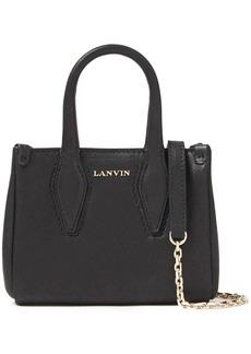 Lanvin Woman Micro Journée Metallic Leather Tote Black