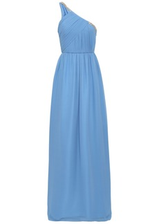 Lanvin Woman One-shoulder Embellished Plissé Silk-georgette Gown Azure
