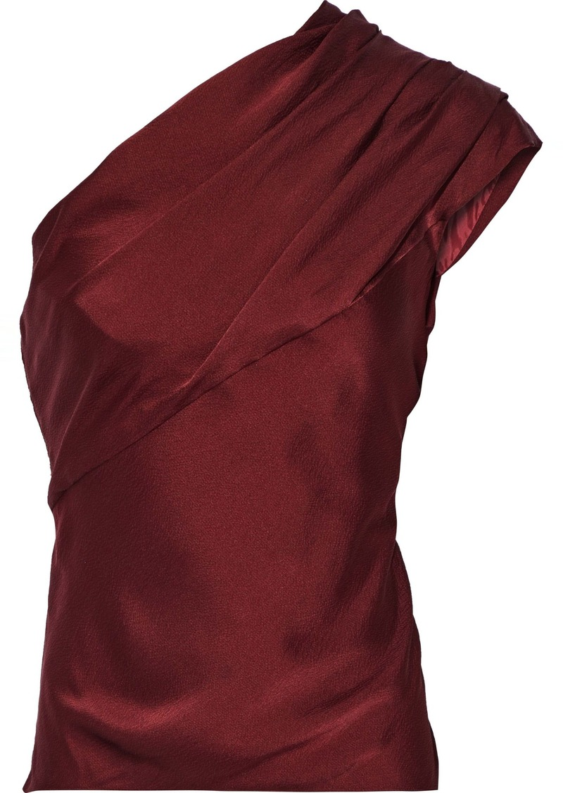 Lanvin Woman One-shoulder Gathered Hammered Silk-satin Top Burgundy