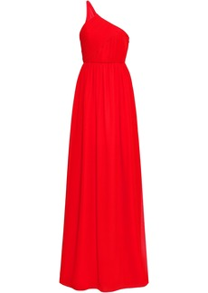 Lanvin Woman One-shoulder Plissé Silk-georgette Gown Red