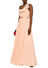Lanvin Woman One-shoulder Ruffled Organza-trimmed Silk-georgette Gown Peach