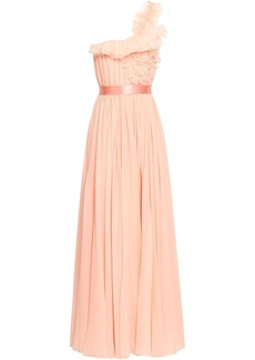 Lanvin Woman One-shoulder Ruffled Organza-trimmed Silk-georgette Gown Peach