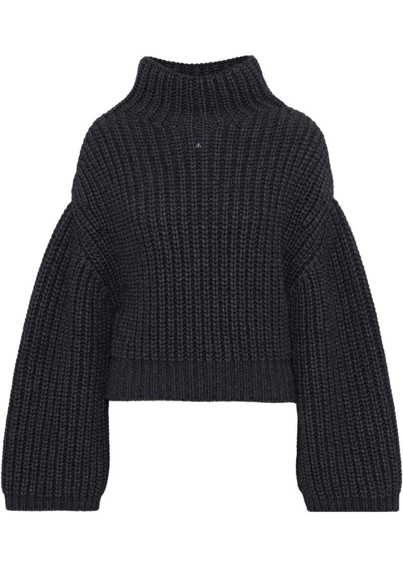 Lanvin Woman Oversized Ribbed-knit Turtleneck Sweater Dark Gray