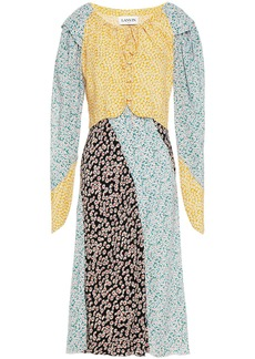 Lanvin Woman Paneled Floral-print Silk Midi Dress Multicolor