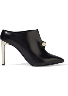 Lanvin Woman Piercing Button-embellished Leather Mules Black