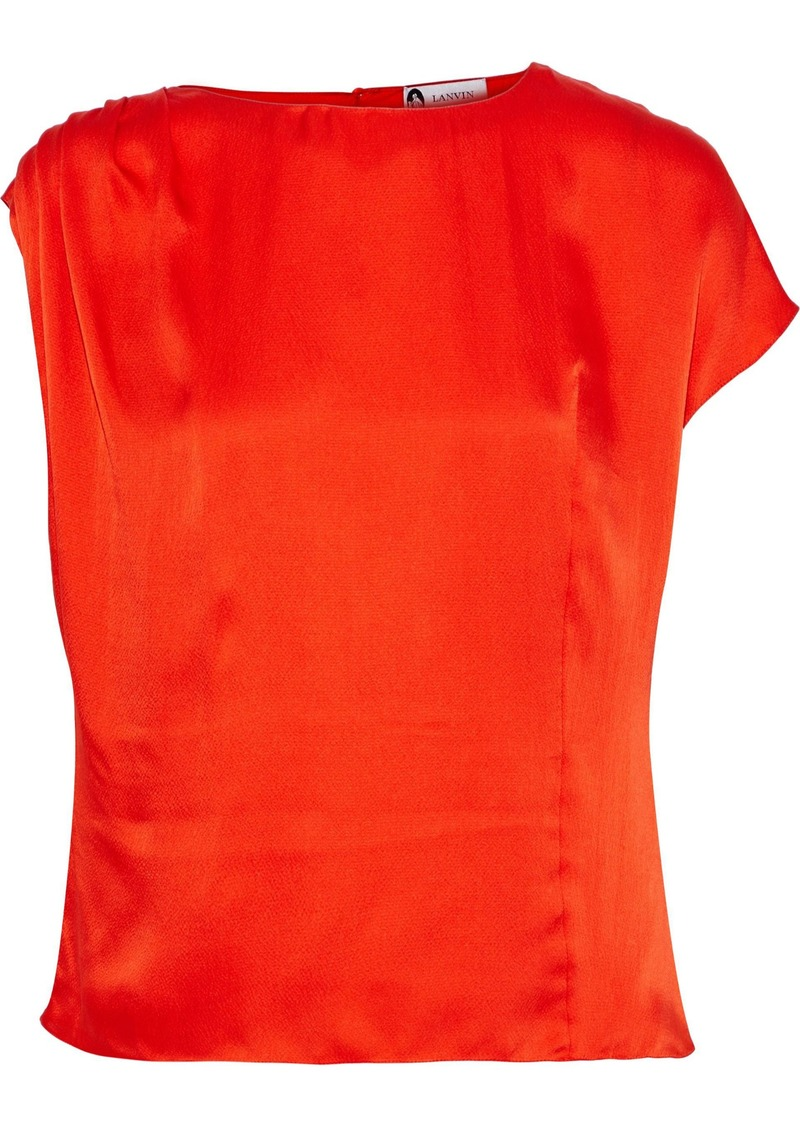 Lanvin Woman Pleated Hammered Silk-satin Blouse Bright Orange