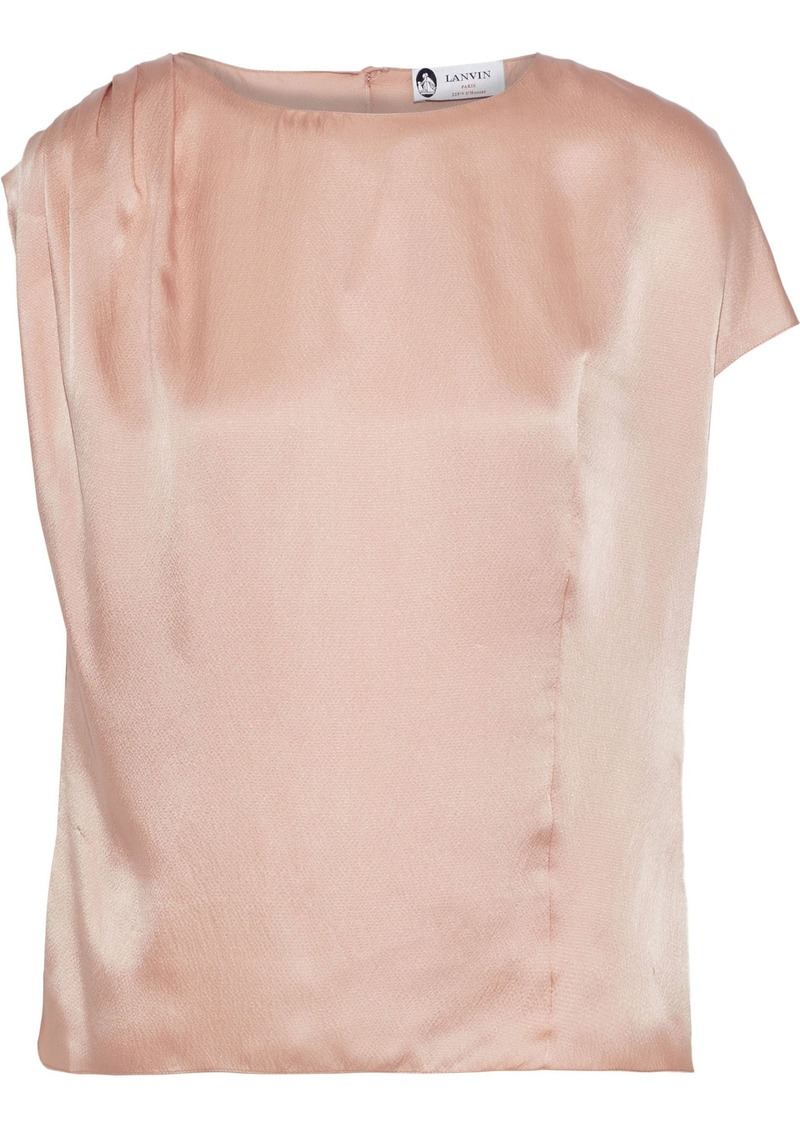 Lanvin Woman Pleated Hammered Silk-satin Blouse Blush