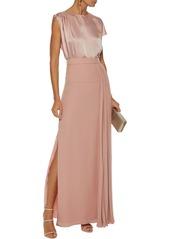 Lanvin Woman Pleated Silk-crepe Maxi Skirt Blush