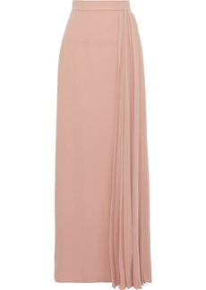 Lanvin Woman Pleated Silk-crepe Maxi Skirt Blush