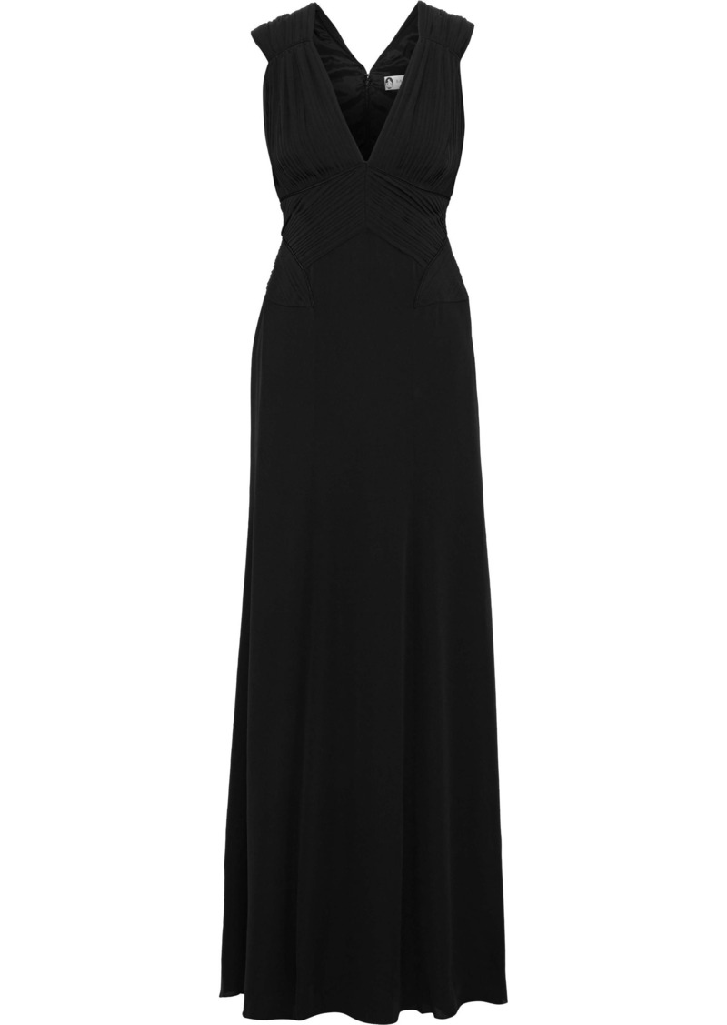 Lanvin Woman Pleated Washed-silk Gown Black