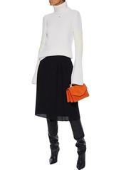Lanvin Woman Pleated Wool-crepe Skirt Black