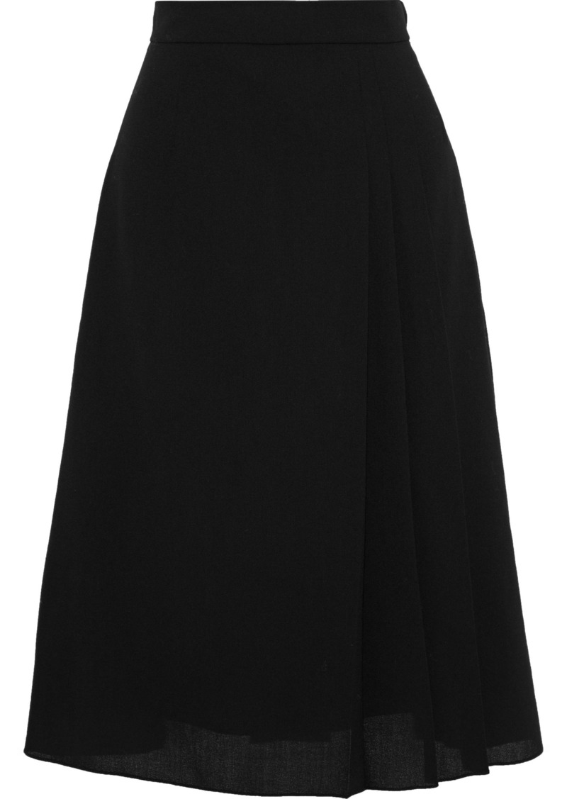 Lanvin Woman Pleated Wool-crepe Skirt Black