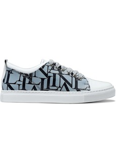 Lanvin Woman Printed Matte And Patent-leather Sneakers Sky Blue