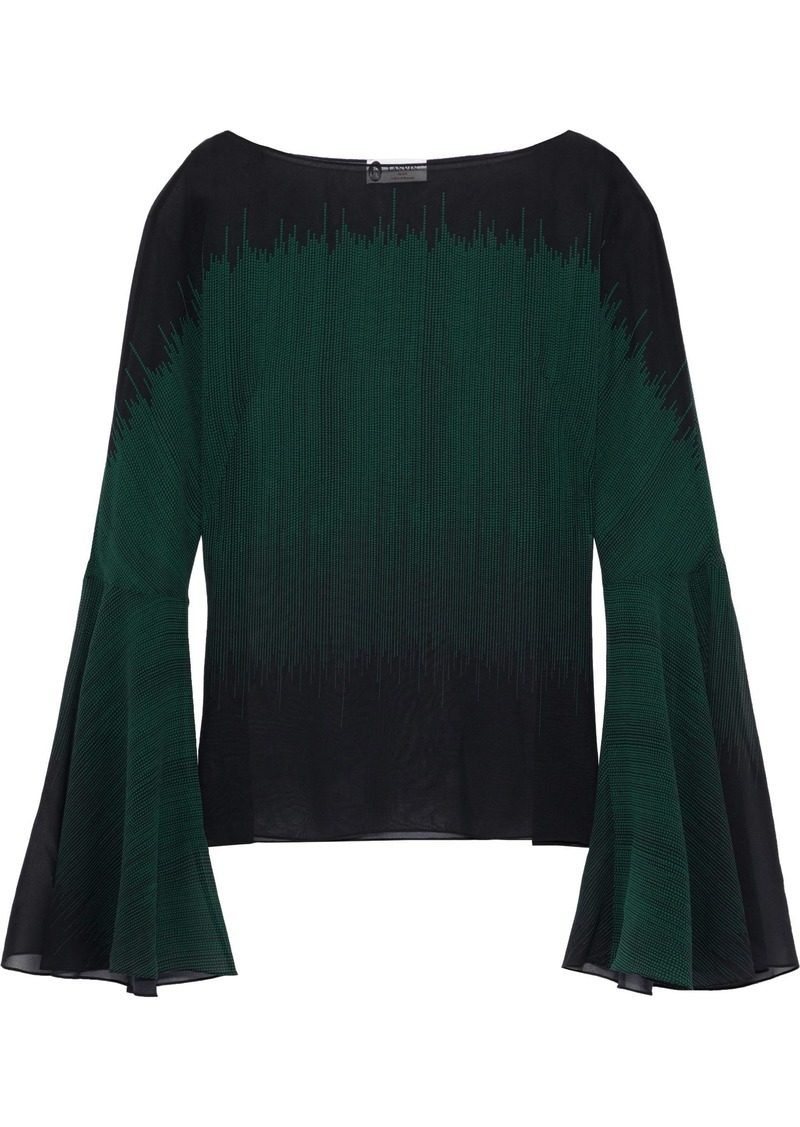 Lanvin Woman Printed Silk-georgette Blouse Dark Green