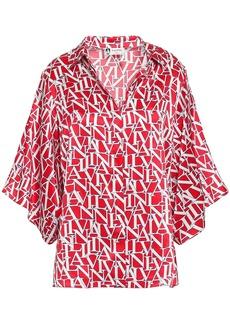 Lanvin Woman Printed Silk-satin Shirt Red