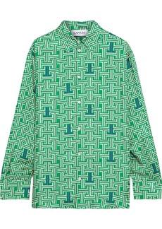 Lanvin Woman Printed Silk-satin Twill Shirt Green