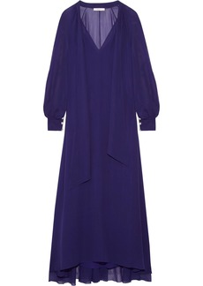 Lanvin Woman Pussy-bow Silk-chiffon Maxi Dress Indigo