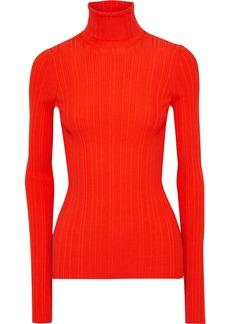 Lanvin Woman Ribbed Wool-blend Turtleneck Top Bright Orange