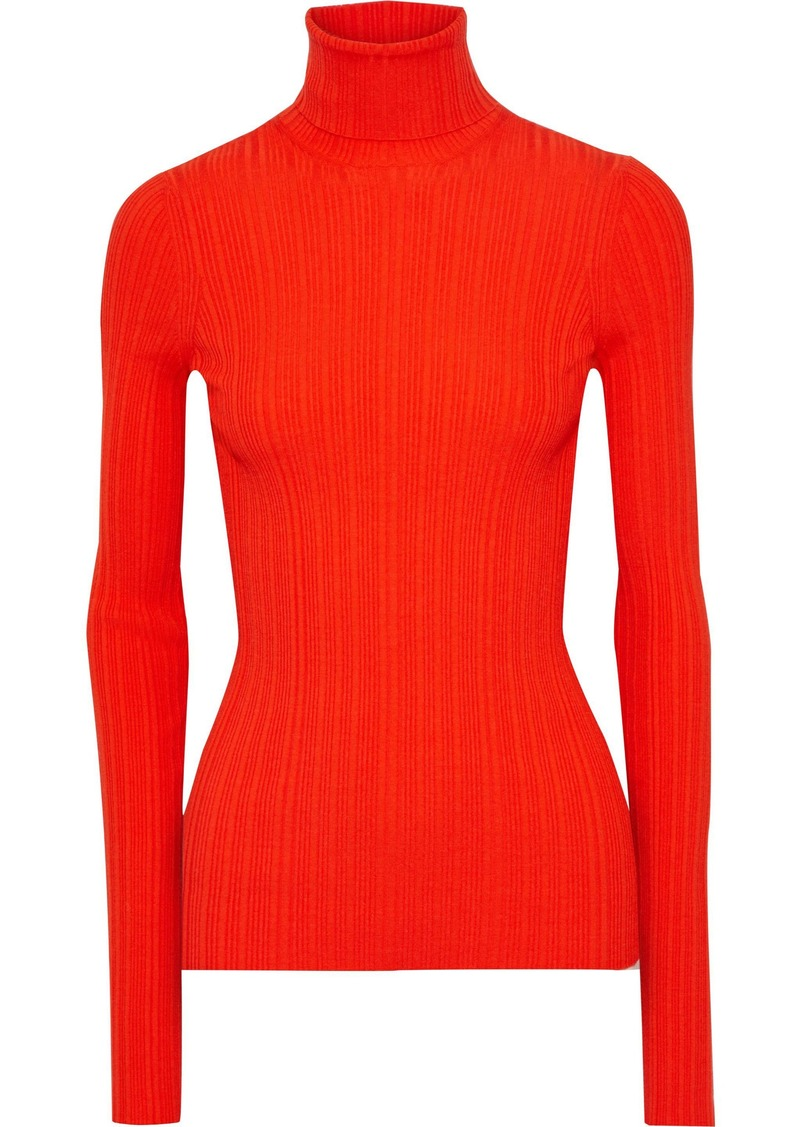 Lanvin Woman Ribbed Wool-blend Turtleneck Top Bright Orange
