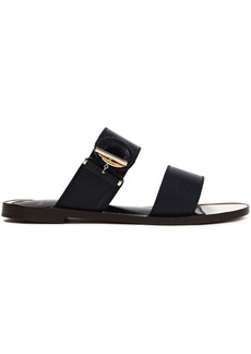 Lanvin Woman Ring-detailed Leather Sandals Midnight Blue