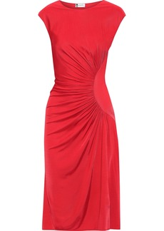 Lanvin Woman Ruched Satin-jersey Dress Red