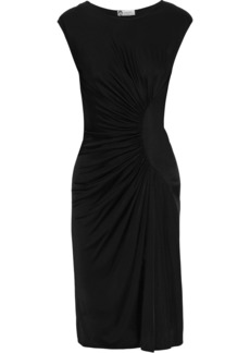 Lanvin Woman Ruched Satin-jersey Dress Black