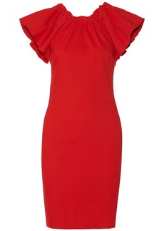 Lanvin Woman Ruffled Linen-blend Dress Red