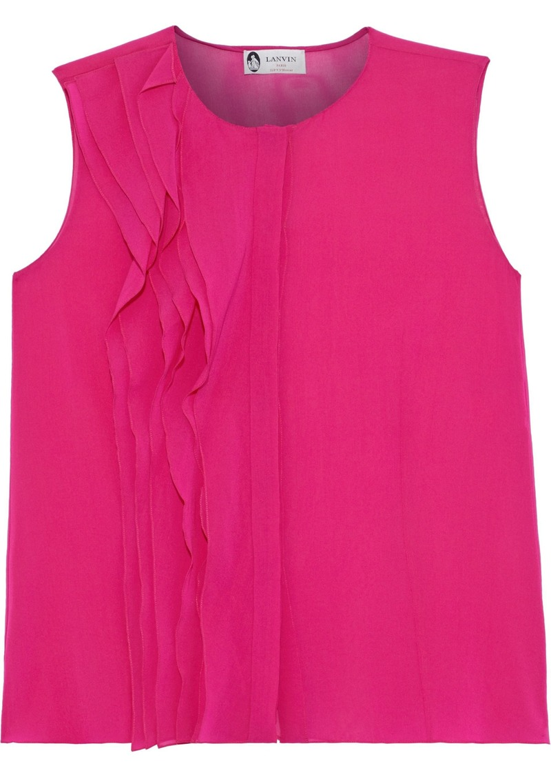 Lanvin Woman Ruffled Silk-blend Top Fuchsia