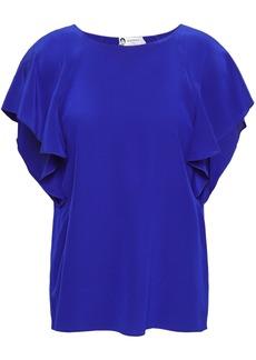 Lanvin Woman Ruffled Silk Crepe De Chine Blouse Royal Blue