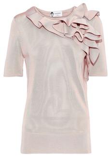 Lanvin Woman Ruffled Stretch-knit Top Pastel Pink