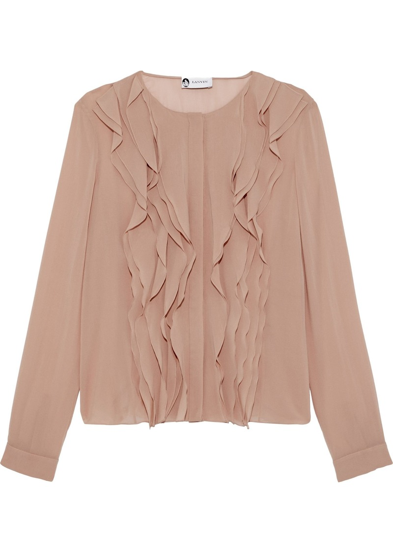 Lanvin Woman Ruffled-trimmed Silk-blend Chiffon Blouse Neutral
