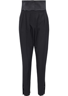 Lanvin Woman Satin-paneled Pleated Wool-twill Tapered Pants Black