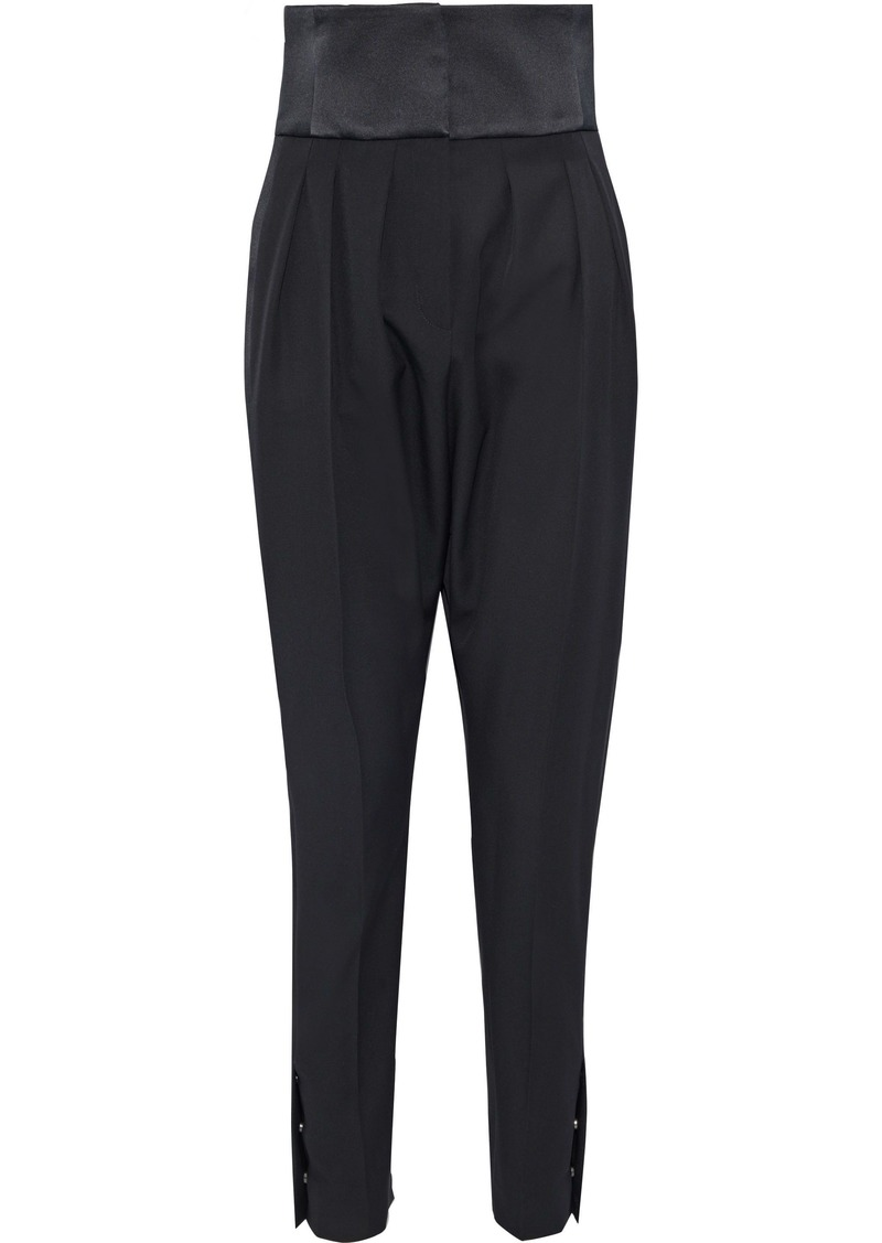 Lanvin Woman Satin-paneled Pleated Wool-twill Tapered Pants Black