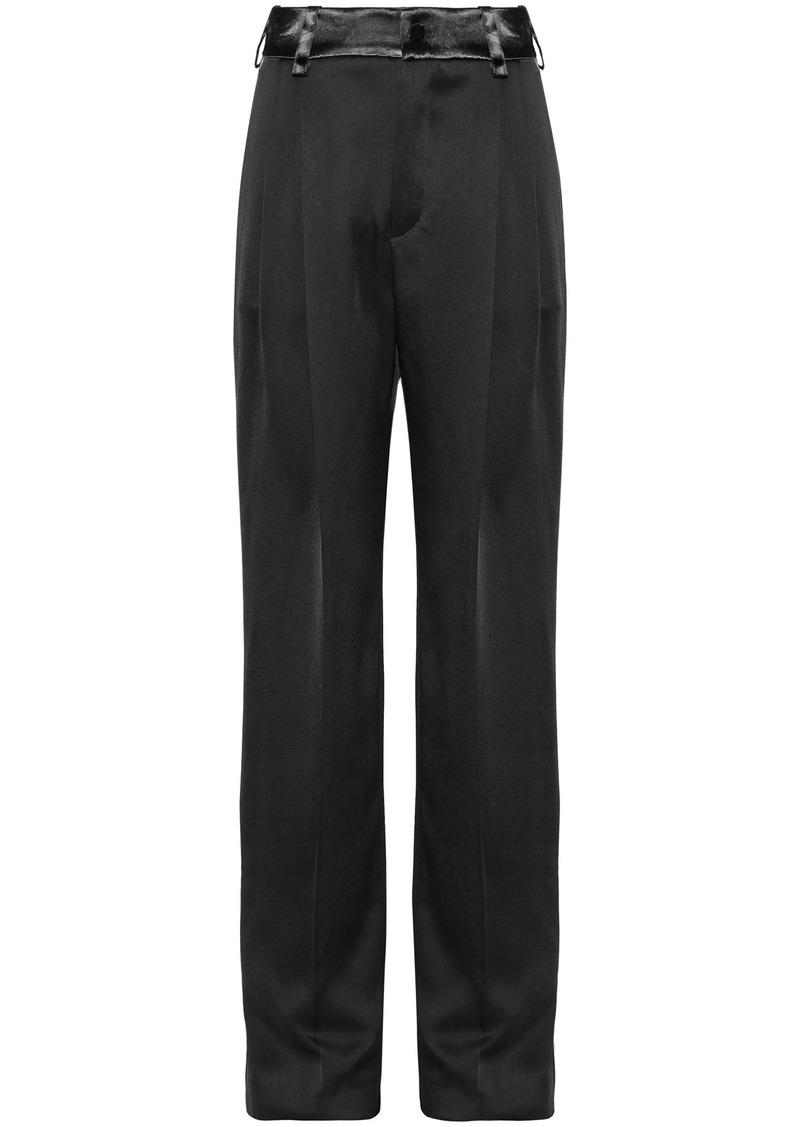 Lanvin Woman Satin Straight-leg Pants Black