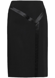 Lanvin Woman Satin-trimmed Crepe Pencil Skirt Black