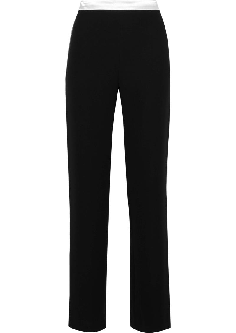 Lanvin Woman Satin-trimmed Crepe Straight-leg Pants Black