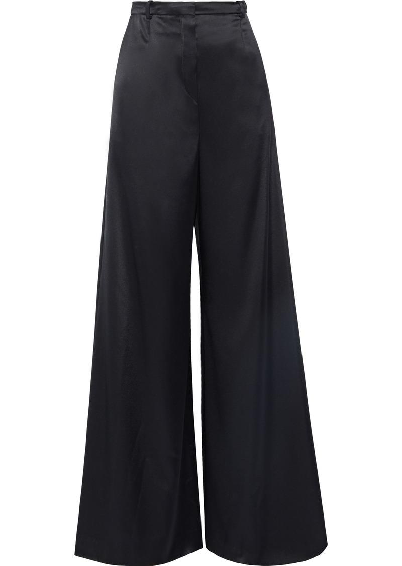 Lanvin Woman Satin Wide-leg Pants Black