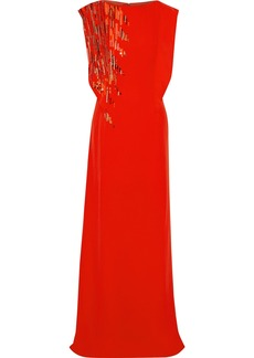 Lanvin Woman Sequin-embellished Silk Gown Bright Orange