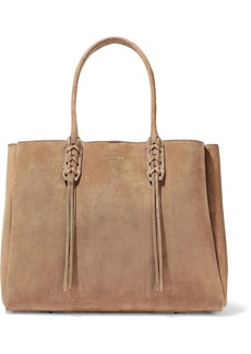 Lanvin Woman Small Shopper Fringe-trimmed Suede Tote Sand