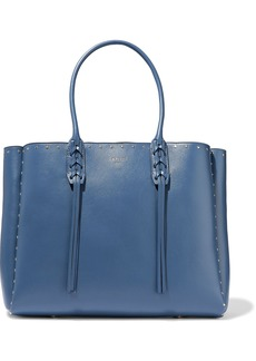 Lanvin Woman Small Shopper Fringed Studded Leather Tote Azure